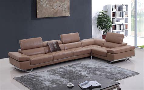 divani casa kerria modern camel italian leather sectional