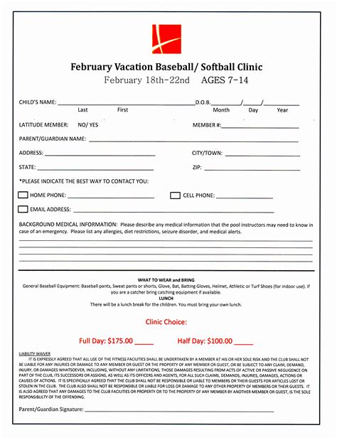 7 baseball registration form template piuur templatesz234