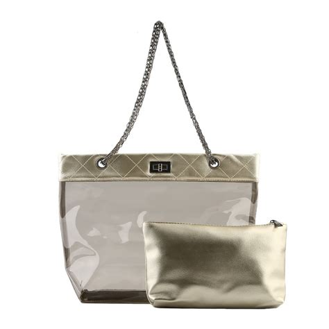 Tote Bag Pu Leather Import womens jelly clear transparent tote pu leather chain bag shoulder bags handbag x ebay