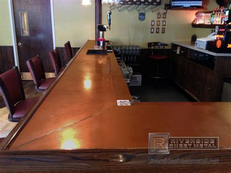 Bar Top Pictures copper bar top with wooden arm molding rest ma usa