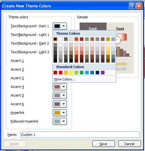 change themes in powerpoint 2007 change a color in a standard color theme theme color
