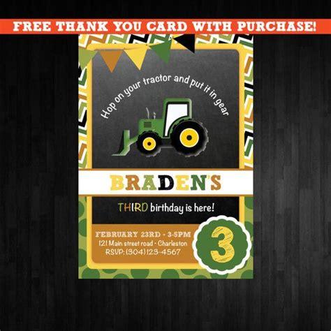 free printable john deere thank you cards tractor chalkboard birthday invitation first birthday