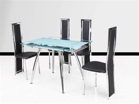 Small Extending Dining Table And 4 Chairs Small Clear And Frosted Extending Glass Dining Table 4 Chairs