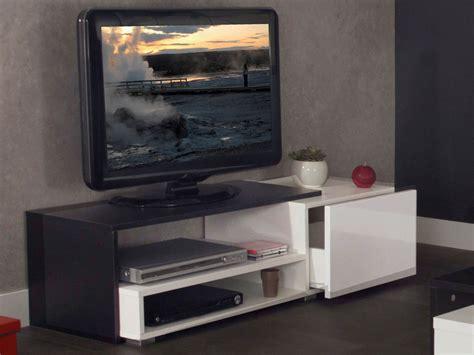 meuble tv 1 tiroir 2 niches en bois l120xp42xh32cm glossy