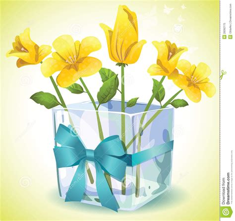 Vas Bunga Square Glass Vase yellow flowers in a square glass vase royalty free stock