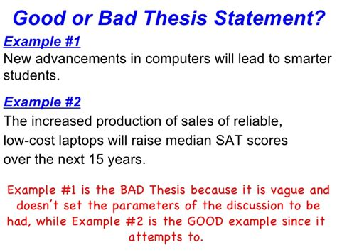 bad thesis statement exles oak hill s senior project creating a thesis ppt 2