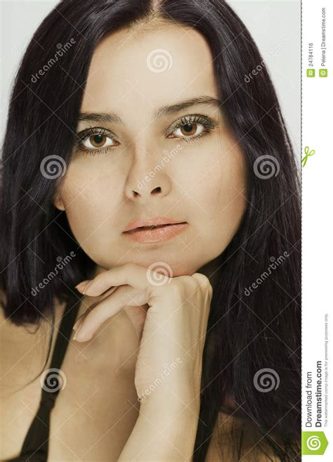 dark haired women portrait of a beautiful dark haired woman stock photo