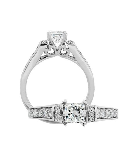 princess cut 0 76ct ring in 18kt white gold amoro