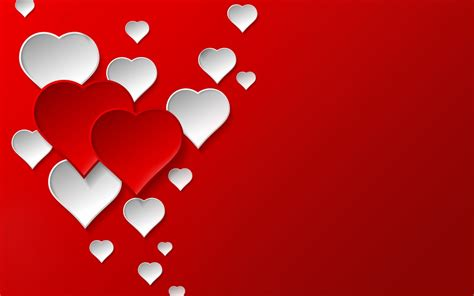 valentines day red  white hearts widescreen
