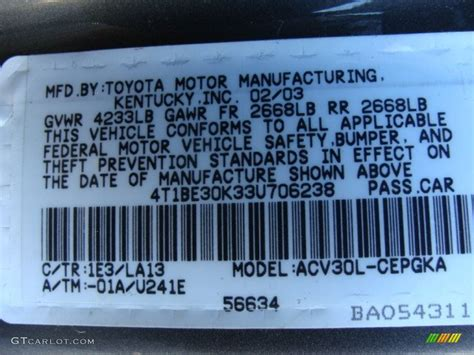 2003 camry color code 1e3 for phantom gray pearl photo 56741904 gtcarlot