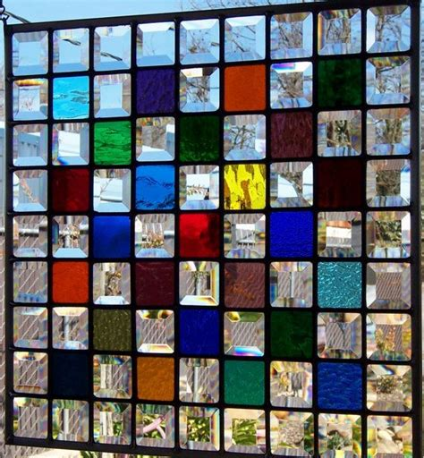 Color Panel Glasses oak framed multi color stained glass window