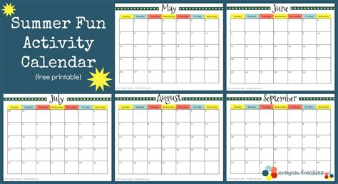 Free Activity Calendar Template by Crayon Freckles 25 Summer Activities And Free Printable