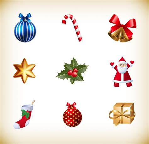 christmas small icon vector collection free vector