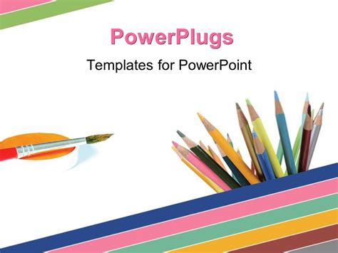 Powerpoint Template A Paint Brush And Lots Of Color Pencils On A White Background 10712 Artistic Powerpoint Templates