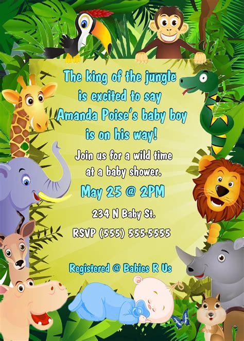 Safari Themed Baby Shower Invitations by Photo Jungle Theme Baby Shower Invitation Image