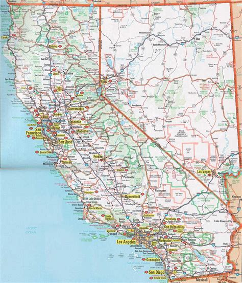 california map of highways printable road map of california california map
