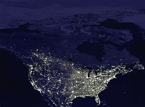 nighttime map of us world map at