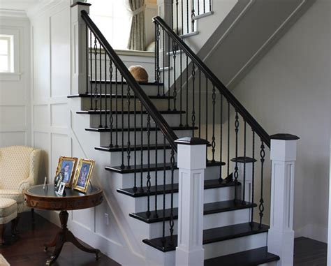 indoor staircase railing wood railing stairs and kitchen