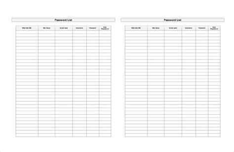 9 Sle Password Spreadsheet Templates Pdf Doc Excel Free Premium Templates Password Template Excel