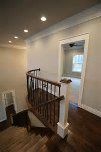 stairwell with benjamin white dove trim