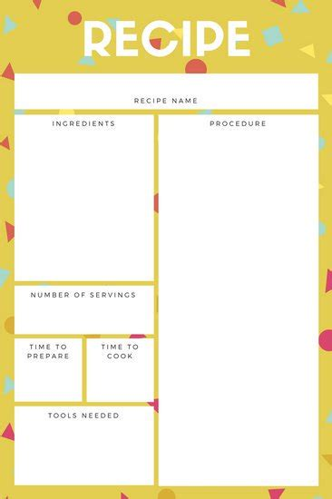 Esl Recipe Card Template by Customize 9 486 Recipe Card Templates Canva