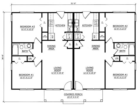 floor plan of ranch multi family plan 54419 floor