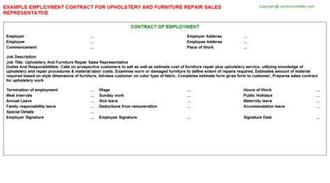 Furniture Repair Cover Letter by Upholstery And Furniture Repair Sales Representative Employment Contract Sle Contracts