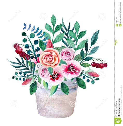 shabby chic style floral bouquet watercolor bouquets of flowers in pot rustic stock illustration image 61332494