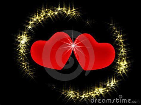 imagenes de corazones y estrellas brillantes dos corazones 3d en un ambiente de estrellas brillantes