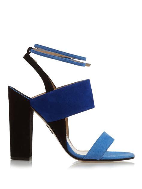 blue block heel sandals paul andrew colour block suede block heel sandals in blue