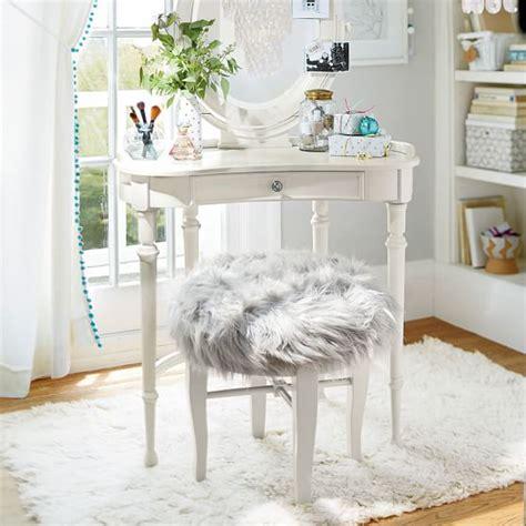 gray fur vanity stool himalayan glam vanity stool pbteen