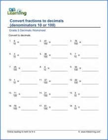 grade 5 fractions vs decimals worksheets free