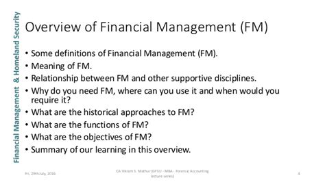 Mba In Forensic Accounting by Unit 1 Financial Management Gfsu Mba Forensic Accounting