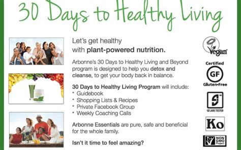 Arbonne 30 Day Detox Guie by 30 Days To Healthy Living Program Weight Loss Clean