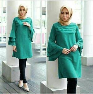 Atasan Wanita Blouse Muslim Tunik Lengan Panjang Jumbo Ruffle model baju atasan muslim wanita tunik cantik lengan panjang terbaru
