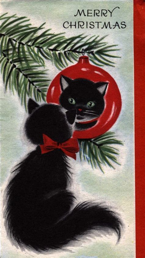 images  vintage christmas cats  pinterest vintage greeting cards retro