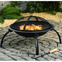 fire pit with mesh cover and cooking grill black the