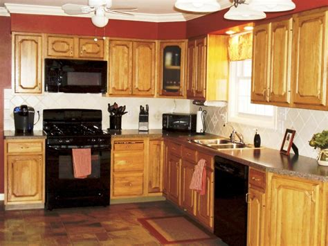 kitchen kitchen color ideas with oak cabinets and black appliances sloped ceiling garage
