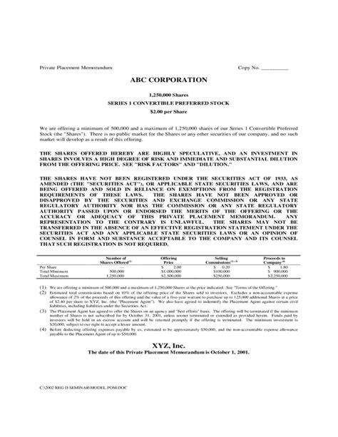Sle Private Placement Memorandum Free Download Placement Memorandum Template