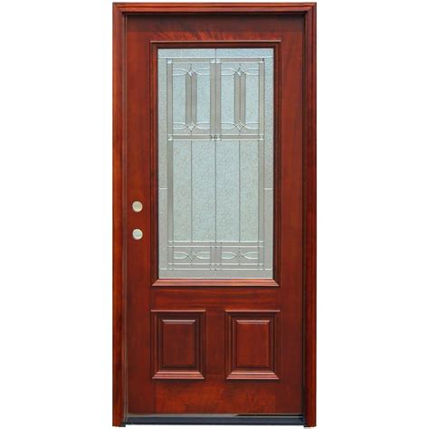 Doors Exterior Home Depot Steves Sons 36 In X 80 In Shaker 3 Lite Stained Mahogany Wood Prehung Front Door M2203 Ct