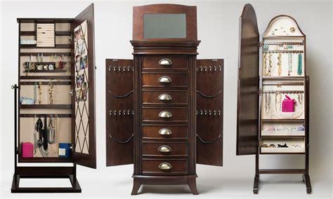macy s furniture jewelry armoire jewelry storage with mirror groupon goods
