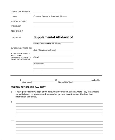 blank affidavit template sle blank affidavit form 6 documents in pdf