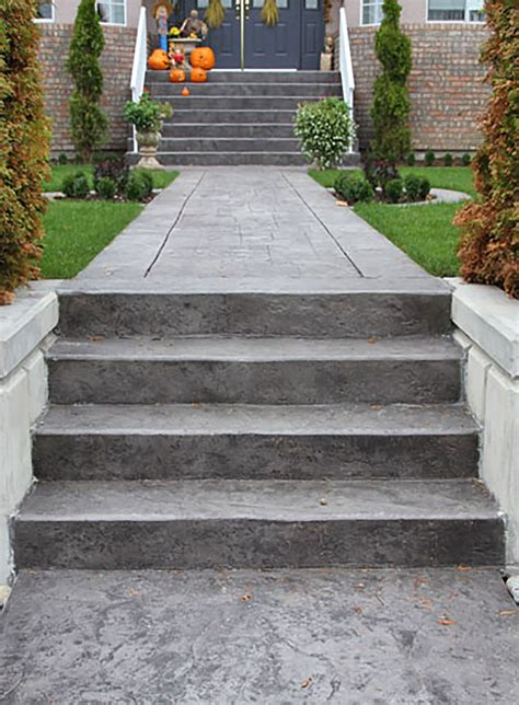 stamped concrete stairs front door steps concrete