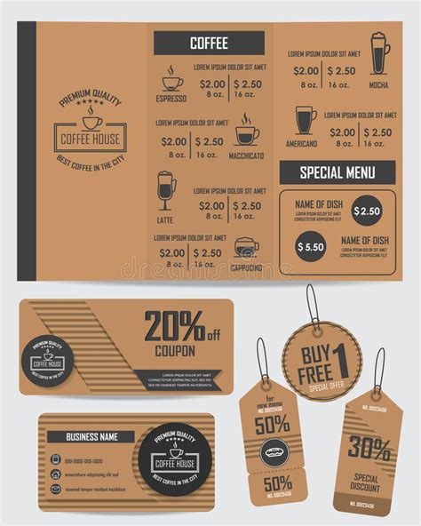 design elements of a coffee shop set of coffee shop elements stock vector image 59867374