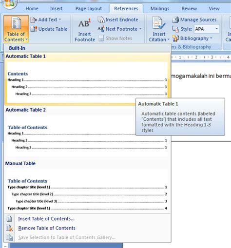 cara membuat daftar isi yang otomatis di word cara cepat membuat daftar isi otomatis microsoft word 2007