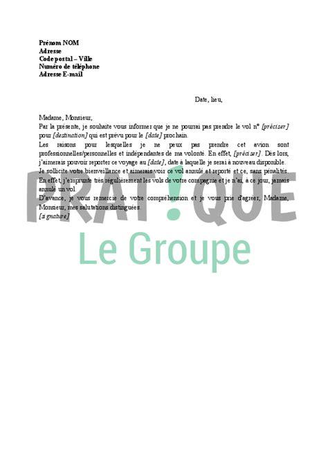 Modèle De Lettre Vol En Entreprise lettre annulation d un vol par le voyageur report