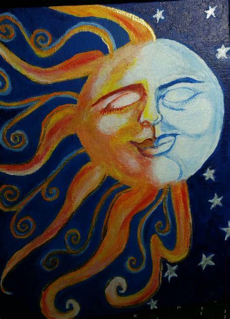 acrylic paint sun painted moon and sun acrylic paint on thin by