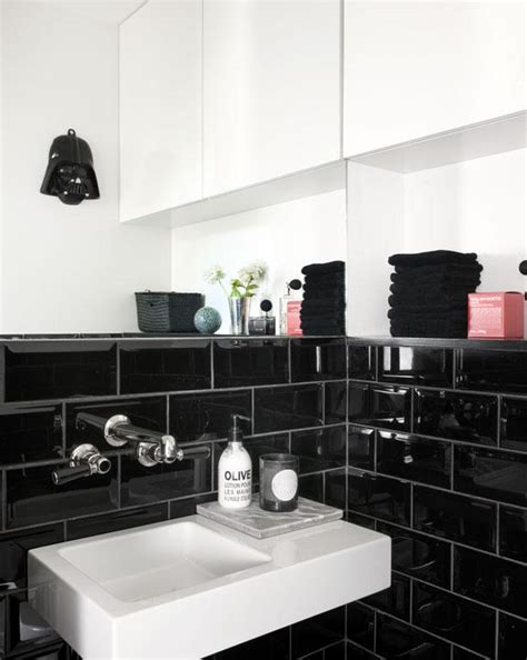black subway tile northern light black with a touch of pink
