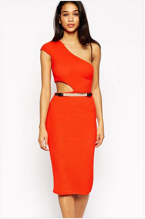 One Shoulder Top High Quality Fabric 2015 new high quality casual one shoulder cutout bodycon midi dress na60285 fashion