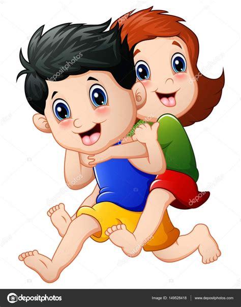 imagenes de niños alegres en caricatura caricatura de ni 241 os felices corriendo vector de stock